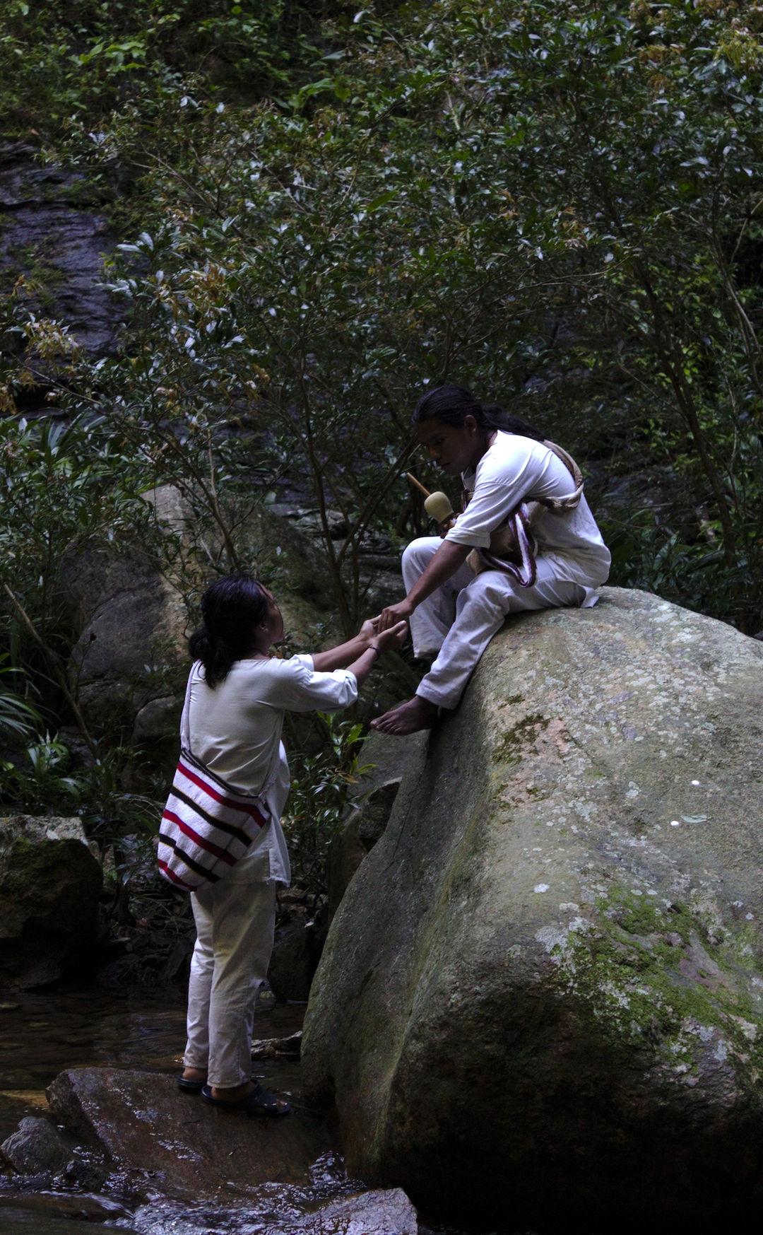 Traditional Wiwa greeting ceremony